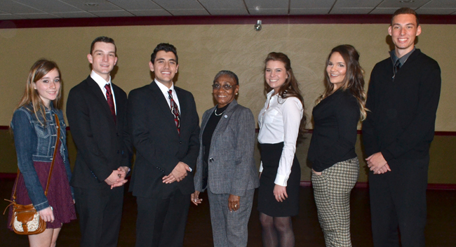 Group Photo includes (from left):  Miranda Lynn Smith, Justin Welch, Jansen Simone, Judge Baldwin, Gillian Saccremeno, Annastatia Nicole Eichler and Adam Bannister.