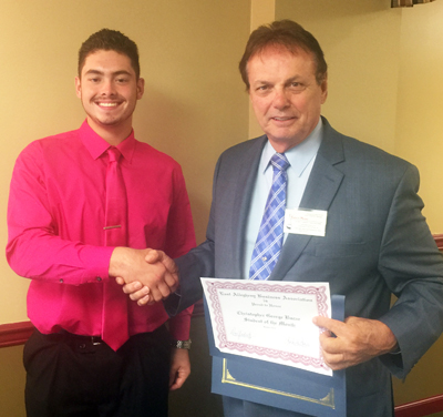 Christopher Bucar, Student of the Month and Dan Yadesky, Vice President